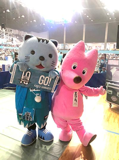 京都ハンナリーズVS大阪エヴェッサ戦 オープニングでPR!